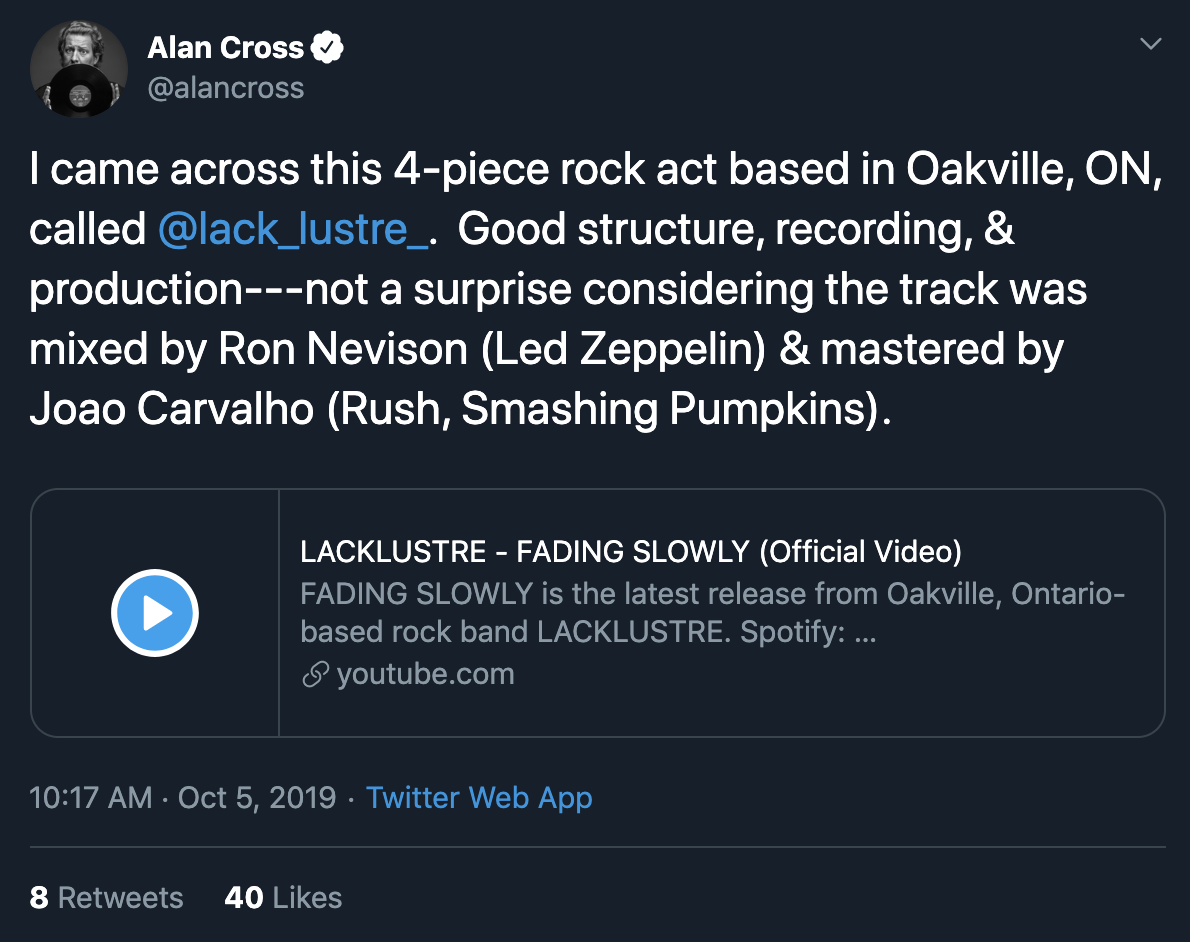 ALAN CROSS TWEETS ABOUT LACKLUSTRE